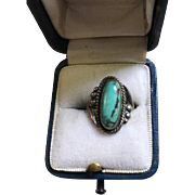 Bell Trading Company Early Sterling Turquoise Ring
