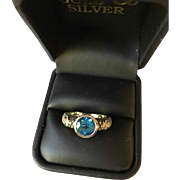 Candela 18K/Sterling Blue Topaz and Diamond Ring
