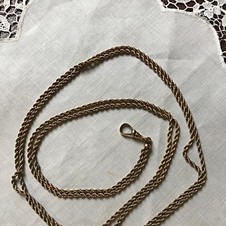 10K Ladies Edwardian Watch Chain w/ Opal Slide