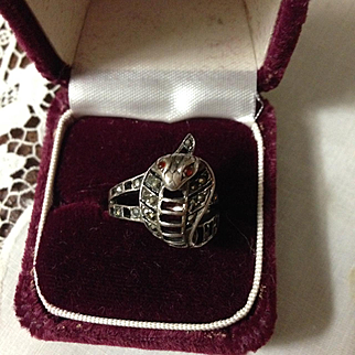Sterling Cobra Snake Ring with Marcasites