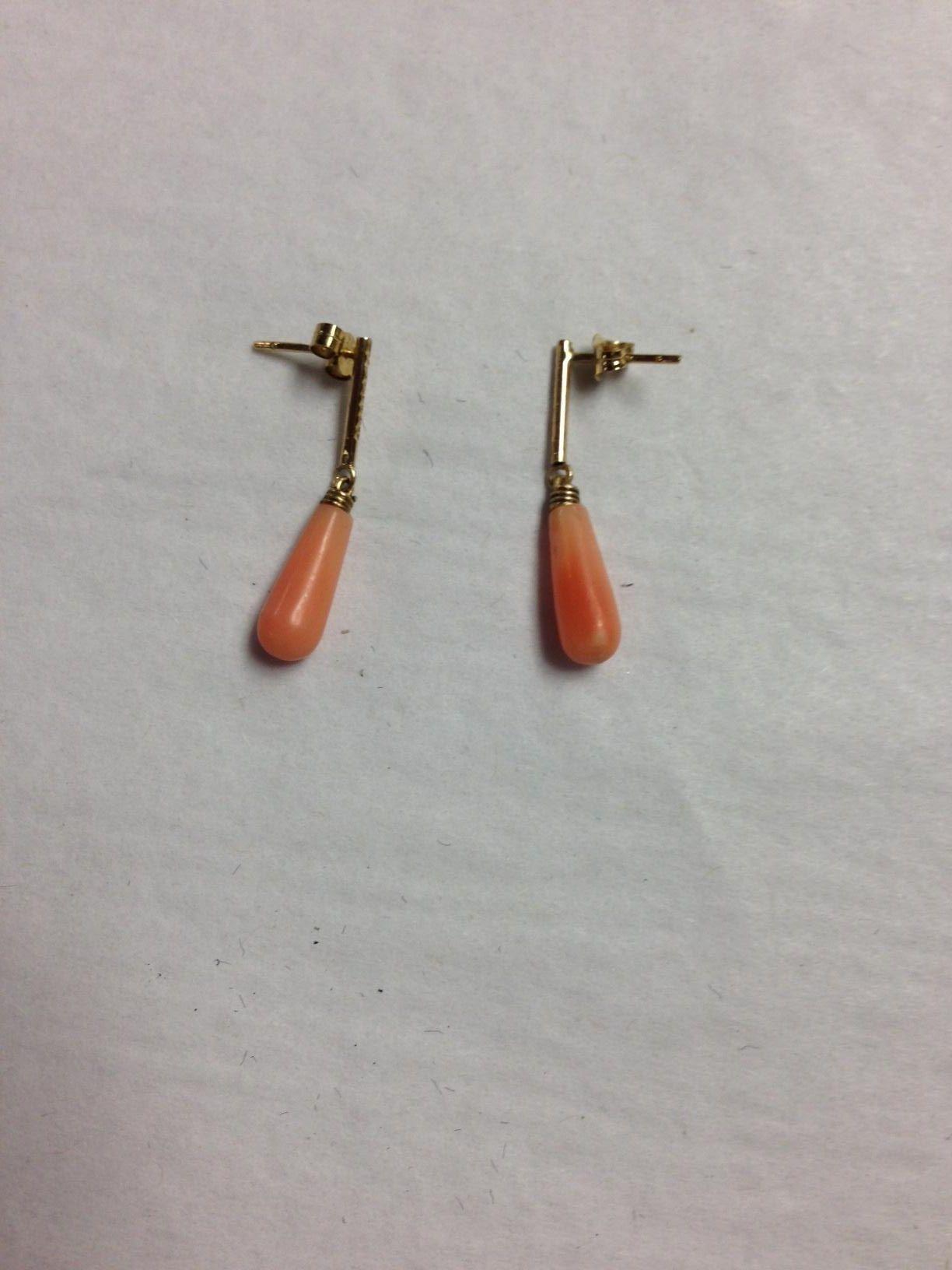 9KT Angel Skin Coral Drop Earrings