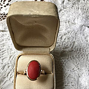 14K Mediterranean Red Coral Ring