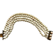 Art Deco Angel Skin Coral Bead Bracelet