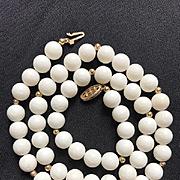 14K White Mediterranean Coral Necklace 1960's