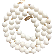 14K White Mediterranean Coral Necklace 1960's