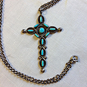 Sterling and Turquoise Cross
