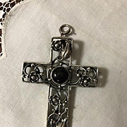 Large Sterling Cross Brooch/Pendant with Onyx