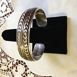 Navajo  Signed Wide Sterling Cuff