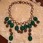 Art Deco Czech Emerald Glass Necklace