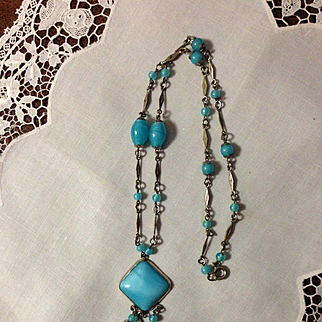 Signed Czech Turquoise Glass Necklace