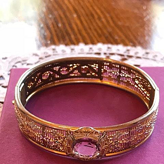 Art Deco Filigree Bangle Bracelet Silver Color with Gold-tone Overlay