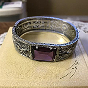 Art Deco Filigree Bangle Bracelet