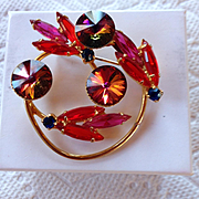 Juliana Siam Red Rivoli Circle Brooch