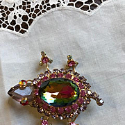 Juliana Watermelon Heliotrope Turtle Brooch