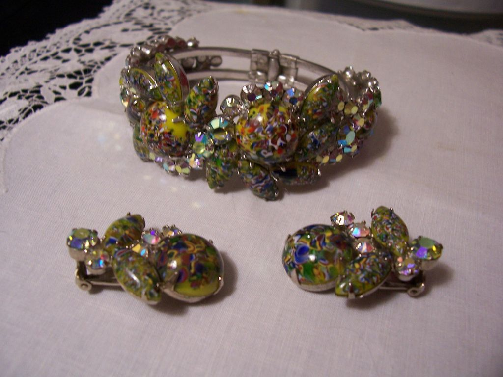 Juliana Rare Harlequin Clamper and Earrings