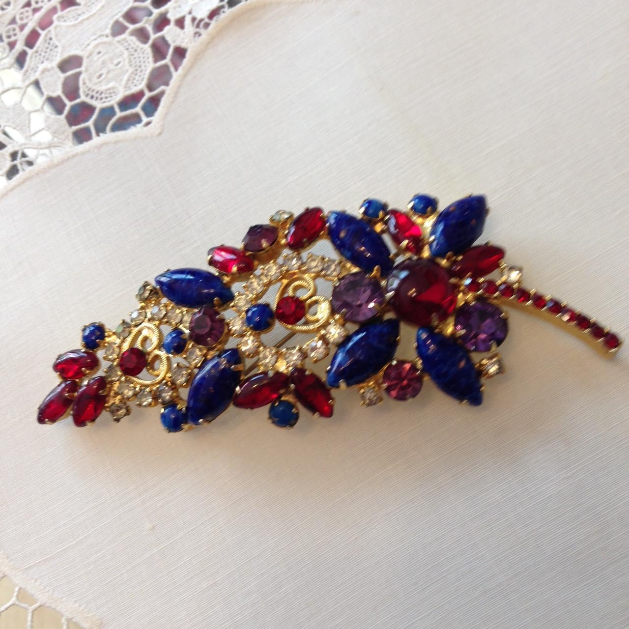 Juliana Patriotic Red White and Blue Brooch