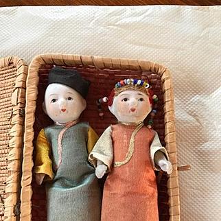 Pair Japanese Bisque Dolls in Basket 1930's