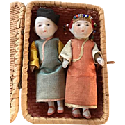 Pair Japanese Bisque Dolls in Basket 1930's