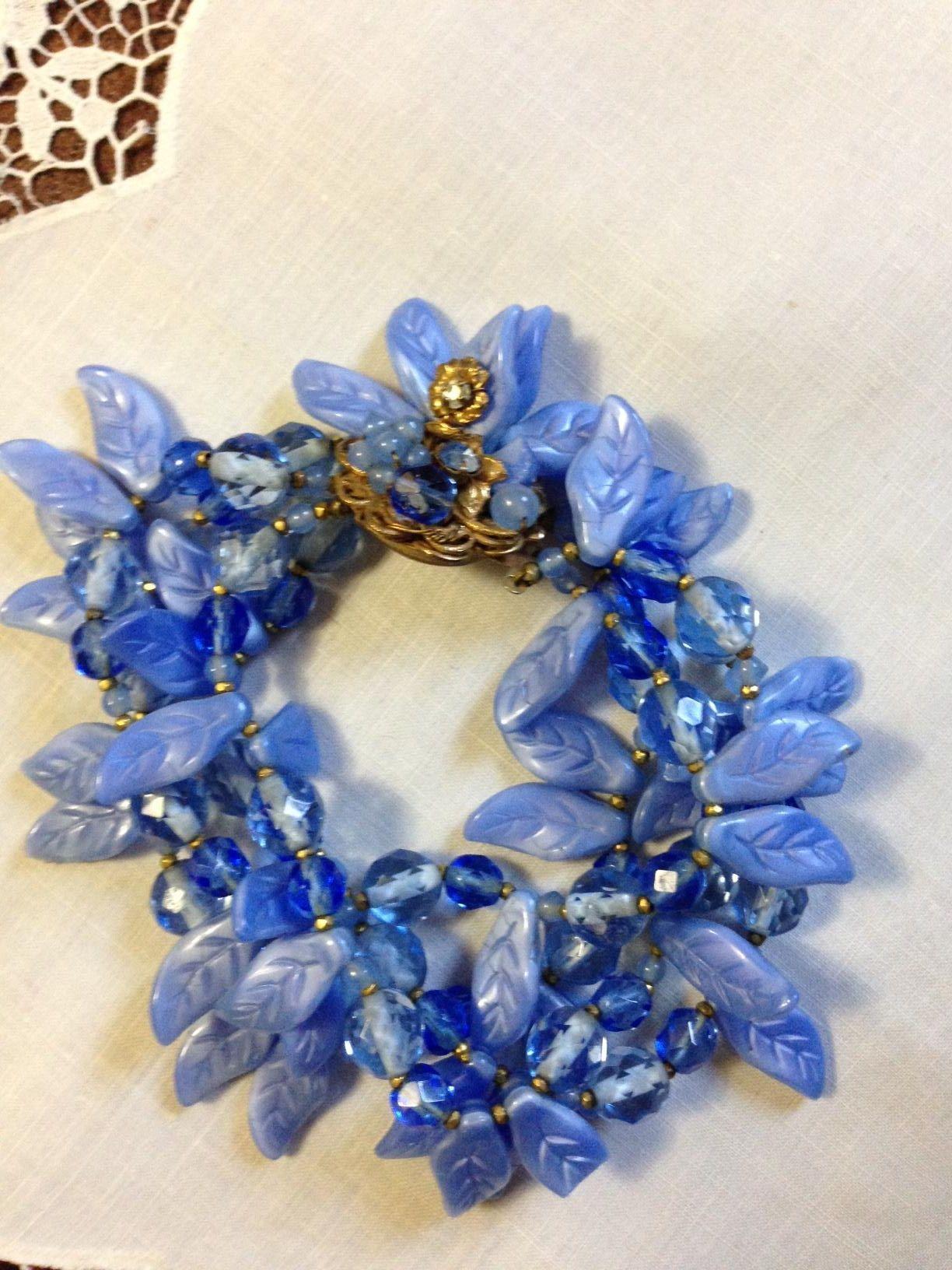 Robert DeMario Glass Bead/Leaf Bracelet