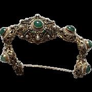 Art Deco Hungarian Baroque Emerald/Pearl Bracelet Sterling