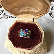 Carol Felley Multi-stone Inlaid Ring 1986