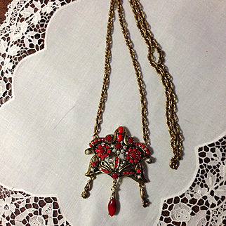 Hollycraft Unusual Signed Necklace
