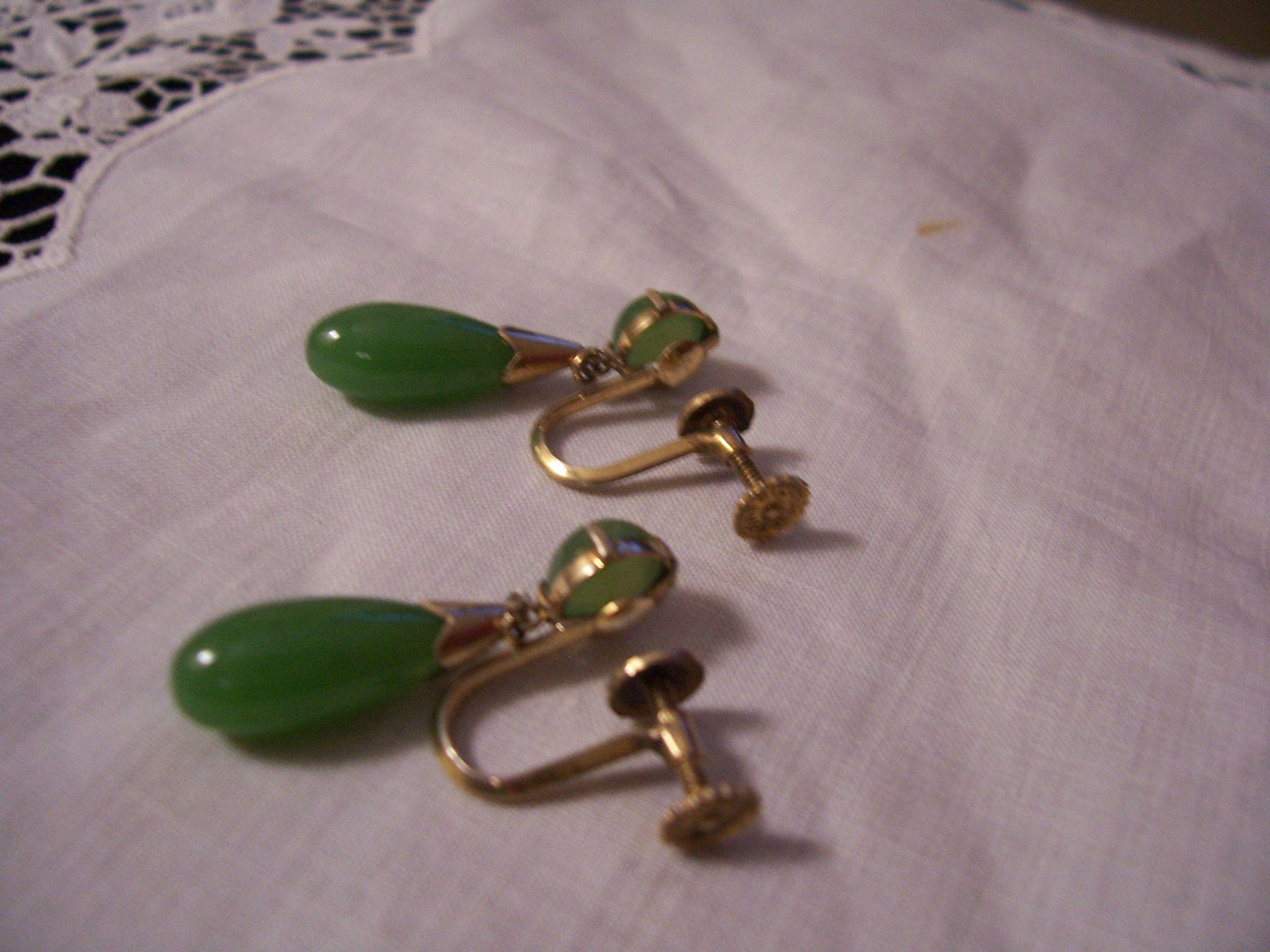 Art Deco Jadeite Earrings Silver Japan