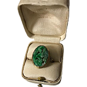 Art Deco 10K Jadeite Jade Ring