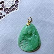 18K Chinese Jadeite Jade Pendant
