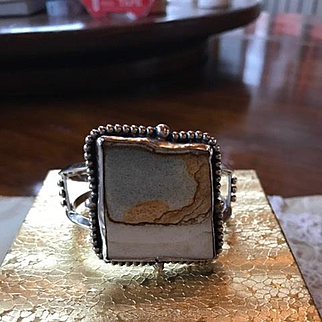 Sterling Large Navajo Style Picture Jasper Cuff Bracelet