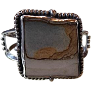 Sterling Large Navajo Style Picture Jasper Cuff Bracelet