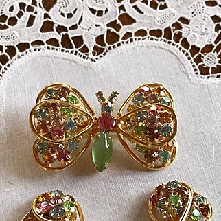Signed Judy Lee Butterfly Brooch and Matching Earrings