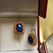 Art Deco Lapis and Sterling Vermeil Earrings