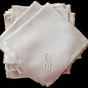 Fine Linen Set of Twelve Monogrammed Napkins