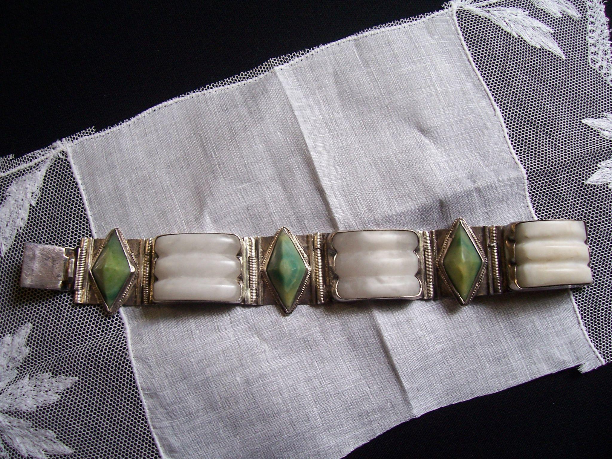 Signed Johanna Van Ryn Sterling Alabaster Jade  Bracelet Art Deco