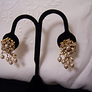 Miriam Haskell Faux Pearl and Rhinestone Dangle Earrings