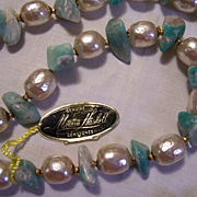 Miriam Haskell Faux Pearl and Turquoise Necklace w/Tag MINT