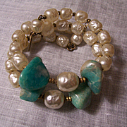 Miriam Haskell Faux Pearl and Turquoise Bracelet