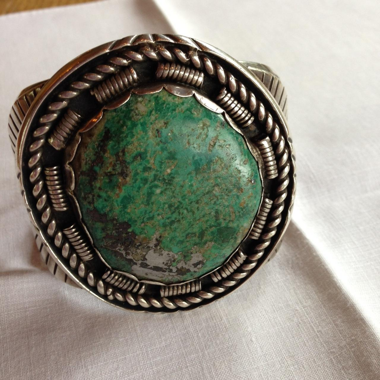 Huge Navajo Royston Turquoise Bracelet Signed 141.4 Grams!