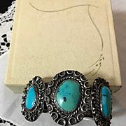 Early Navajo Sleeping Beauty Turquoise Cuff Bracelet
