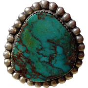 Signed Navajo Sandcast Royston Turquoise Ring 38.7 Grams