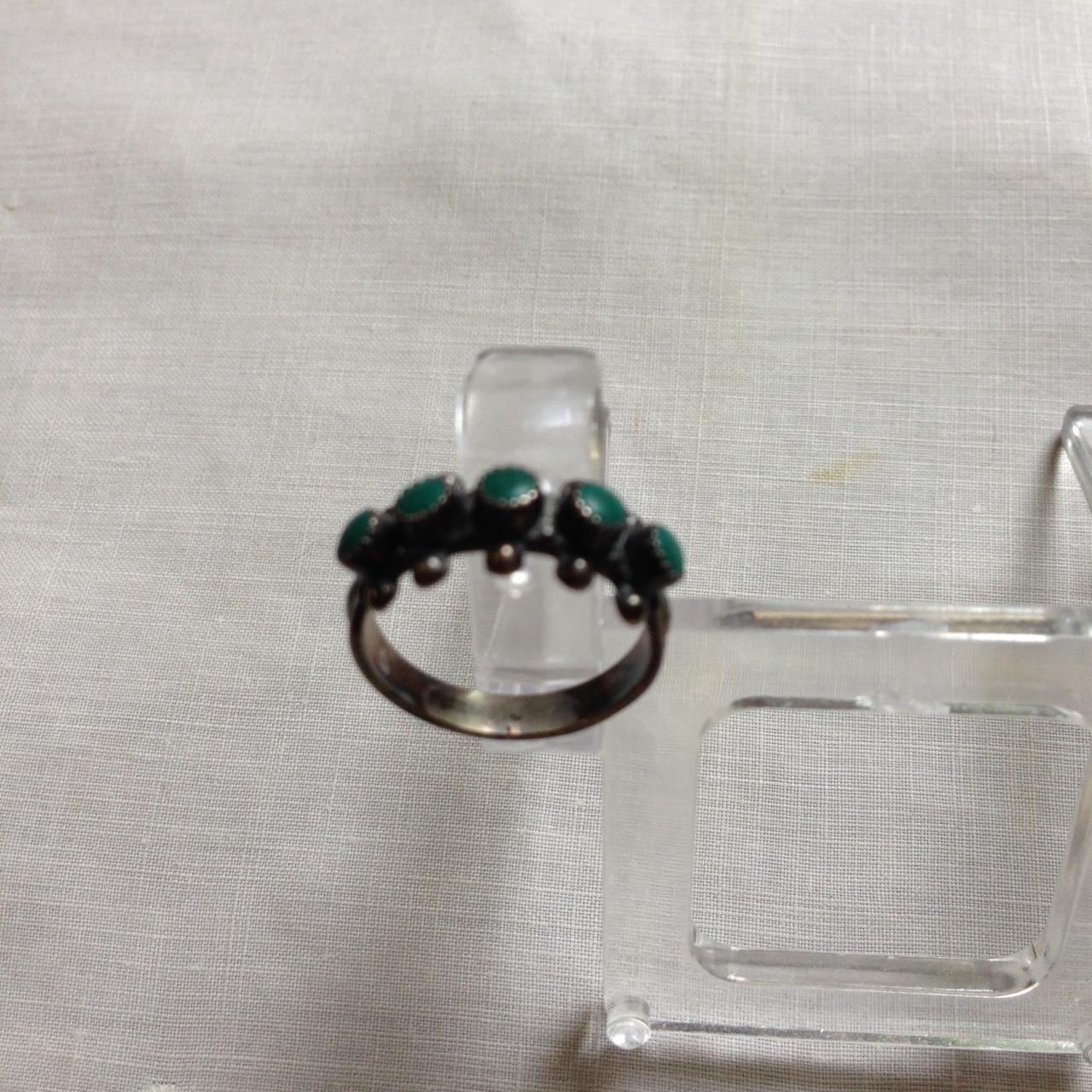 Navajo Style Turquoise Sterling Snake Eyes Ring