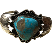 Navajo Style Morenci Waterweb Turquoise  Cuff Bracelet