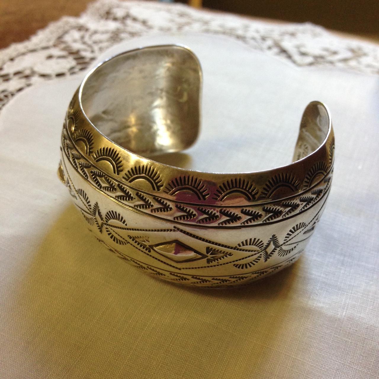 Navajo Artist Signed Sterling Wide Stamped Bracelet