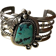 Artist Signed Navajo Sterling Turquoise Cuff