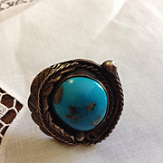 Navajo Signed Morenci Turquoise Sterling Ring