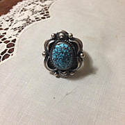 Navajo Gilbert Tom Sterling Turquoise Ring