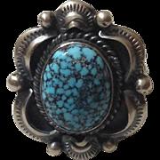 Navajo Gilbert Tom Sterling Turquoise Ring