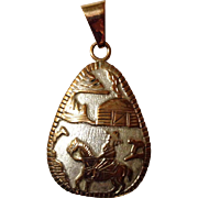 Navajo Signed  Sterling and Gold Filled Pendant