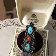 Signed Navajo Ervin Nez Sterling Turquoise/Coral Ring